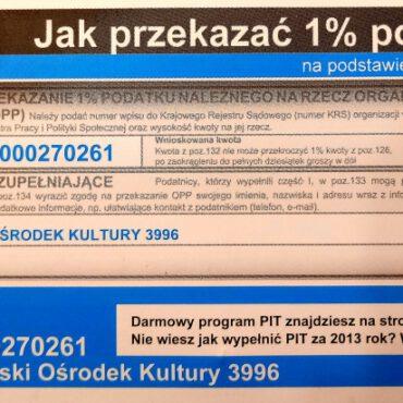 Przekaż 1% podatku na Tucholski Ośrodek Kultury
