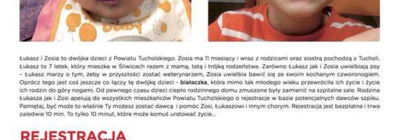 Powiatowy dzień dawcy szpiku dla Zosi i Łukasza w TOK!