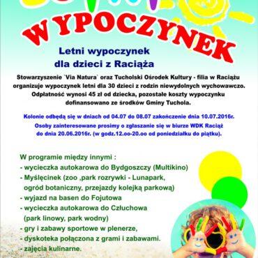 Letni wypoczynek dla dzieci z rodzin niewydolnych wychowawczo z Raciąża