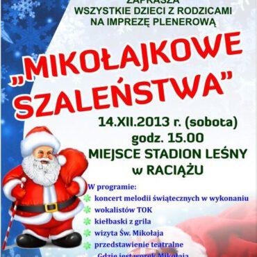 Zapraszamy dzieci na Mikołajkowe Szaleństwa w Raciążu