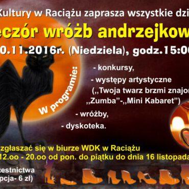 Wieczór wróżb andrzejkowych w Raciążu